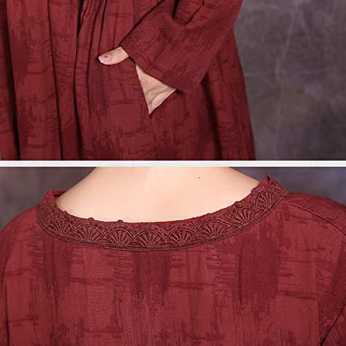 One Vintage Robe Size Trapèze Olprkgdg color Pour Size Royal Blue Longues Femmes Jacquard Manches Blue À Poches Avec 4Zwdqw