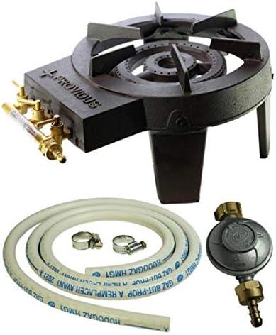 Paquete de hornillo de Gas, hierro fundido, 3 llaves de ajuste, 9,8 kW + conector de Gas y descompresor de alta estabilidad