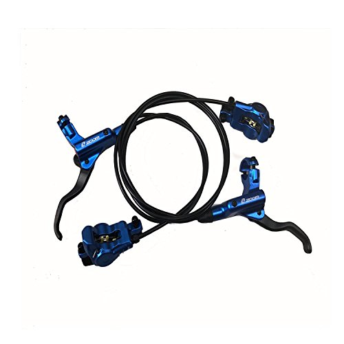 Zoom- Euro MTB Mountain Bike Hydraulic Disc Brake levers Calipers Front & Rear Set (Blue) ()