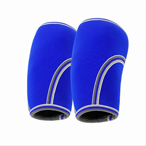 Sleeves 7MM (1 Pair) - Crossfit Knee Brace Support Pain Relief in Weight Lifting Sleeves Men & Women,Blue,XS