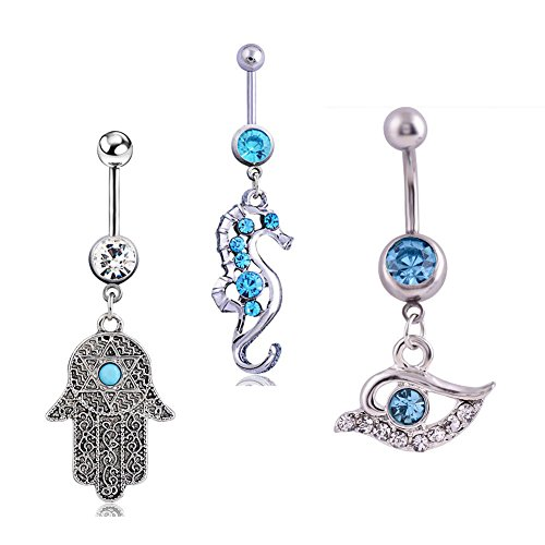 HoBST 14G Sexy Beach Belly Button Rings Tribal Dangle Set Surgical Steel Curved Barbells Piercing Bar