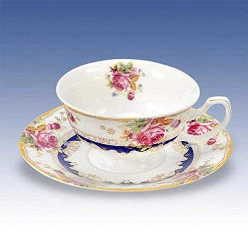 China Cup & Saucer Floral Classical Style Bone China Vintage Handles Vibrant Colours Club Green