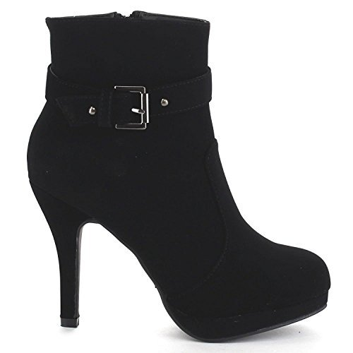 TOP Moda George-15 Women's Strap Buckle Stiletto Heel Ankle Booties Tan 7
