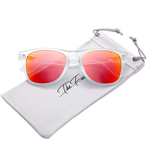 The Fresh Matte Frosted Frame Reflective Colored Mirror Lens Spring Temple Horn Rimmed Sunglasses Gift Box (13-Frost, Orange Red Mirror)