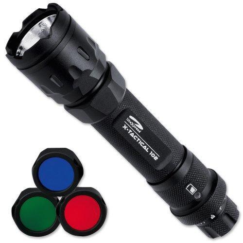 LiteXpress LXL440001 X-Tactical 102 Aluminium-Taschenlampe, 1 Cree Hochleistungs-LED mit Lichtleistung bis zu 174 Lumen, stufenlos dimmbar, inklusive 3 verschiedene Farbfilter, Leistungsangabe nach ANSI-Standard, schwarz