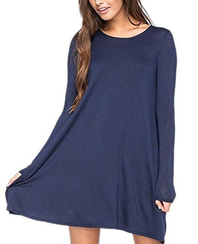 Womens Simple Long Sleeve Short T-shirt Shift Dress Dark Blue (Teen Christmas Dress)