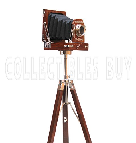 Old Time Retro Look Camera Replica Home Decorative Gift Brown Tripod (Photographer Gift Christmas Ideas)