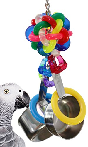 Bonka Bird Toys 1595 Pot Ring Bird Toy Parrot cage Toys Cages African Grey Cockatoo Macaw Amazon. Quality Product Hand Made in The USA.