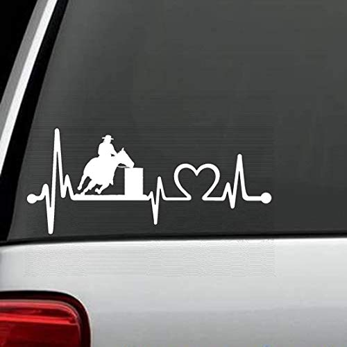 (Vinyl Sticker Decal Barrel Racing Horse Heartbeat Lifeline Monitor Saddle tack 8