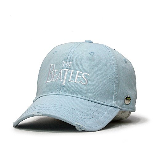 The Beatles Classic Adjustable Baseball Cap Drop T Logo Sgt Pepper Drum Abbey Road (Drop T Light Blue)