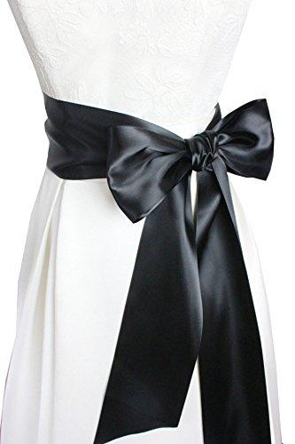 4'' Wide 90 Long Simple Ribbon Sash for Formal Wedding Dress Belts (Black)