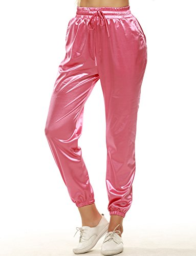 VWIWV Women's Drawstring Waistband Satin Joggers Casual Sports Sweatpants with Pockets Pink