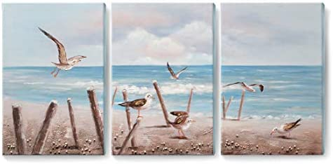 amatop Seascape Wall Art Hand-Painted 3D Ocean Oil Painting 3 Pieces Costal Artwork Framed Sea Bird Picture for Living Room Bedroom Office D cor Large Ready to Hang Blue 48x24inch