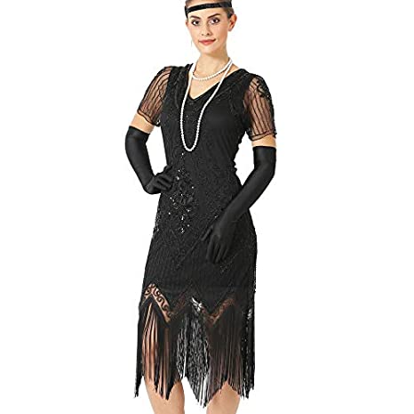 654d90a5f20 Gatsby 1920s Flapper Dress Women Vintage Sequin Fringe Beaded Art Deco  Fancy Dress with Sleeve for Party Prom  Amazon.co.uk  Clothing