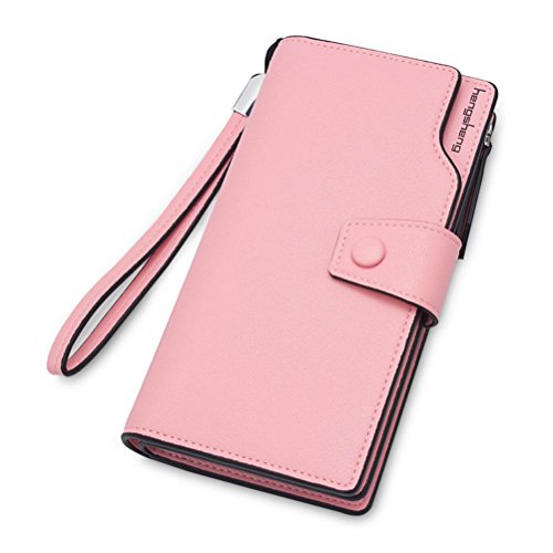 Leather Nappa Gtuko Bbo Multi Sobre Monedero Luxury Pink 5x2 Cremallera Blocking Con Crédito Bolsillos 19x10 Interiores De Real Rfid Tarjeta Cm Larga Flap Ladies wYFFqx0d