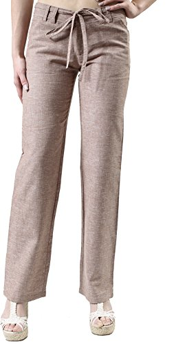 Lightweight Flare Leg Jeans (Zenana Outfitters Women's Lightweight Casual Breathable Linen Pants (Large, Mocha)