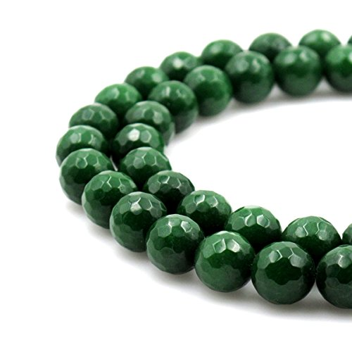BRCbeads Gorgeous Faceted Dark Green Dyed Jade Gemstone Round Loose Beads 10mm Approxi 15.5 inch 35pcs 1 Strand per Bag for Jewelry (Green Jade Gems)