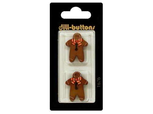 Dill Buttons 25mm 2pc 2 Hole Gingerbread Man Brn - Gingerbread Embellishments