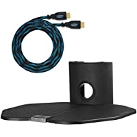 Cheetah Mounts AS1B Single Shelf TV Component Wall Mount 18x16-Inch Shelving Bracket Bundle with 15-Feet HDMI Cable