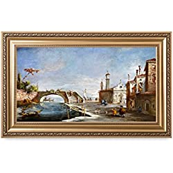 DECORARTS - Canal in Venice, Francesco Guardi Art Reproductions. Giclee Printed w/Embossed Golden Frame for Home Wall Art Decor, Framed Size: 36x22