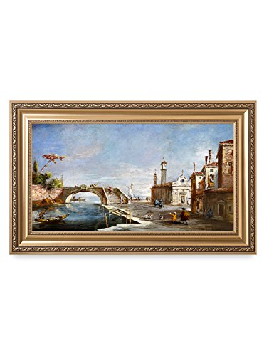 (DECORARTS - Canal in Venice, Francesco Guardi Art Reproductions. Giclee Printed w/Embossed Golden Frame for Home Wall Art Decor, Framed Size: 36x22)