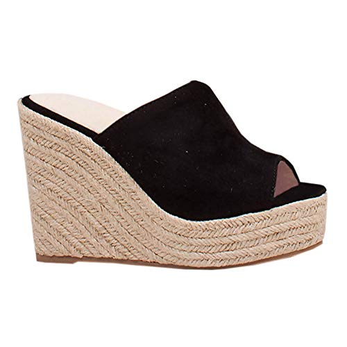 Syktkmx Womens Slip on Wedges Slides Espadrille Platform Peep Toe High Heeled Sandals
