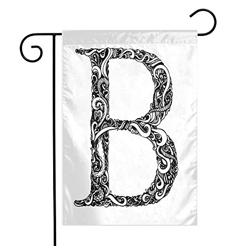 (Mannwarehouse Letter B Garden Flag Black and White Abstract Swirls Classic Design Alphabet Uppercase B Symbol Print Premium Material W12 x L18 Black White)