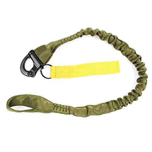 - LytHarvest Tactical Internal Bungee Elastic Sling Military Personal Retention Lanyard with Snap Hook Shackle (Army Green)
