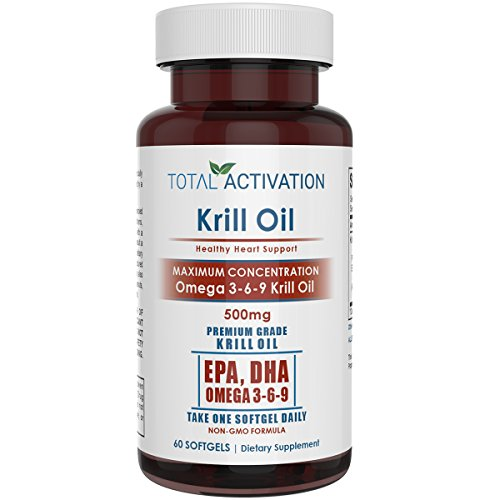 Krill Oil Omega 3 6 9 Fatty Acids with Astaxanthin, 1000mg Per 2 Softgels, Rich in DHA, EPA for Healthy Heart & Skin, 60 Red Burpless Liquid Softgel Capsules, All Natural, No Fishy Aftertaste