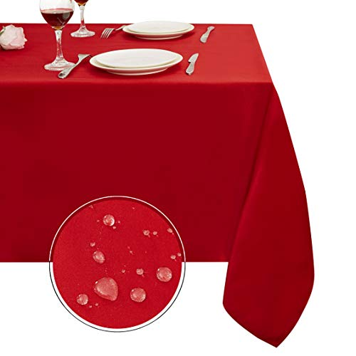 Obstal Rectangle Table Cloth, Oil-Proof Spill-Proof and Water Resistance Microfiber Tablecloth, Decorative Fabric Table Cover for Outdoor and Indoor Use (Rio Red, 60 x 84 -