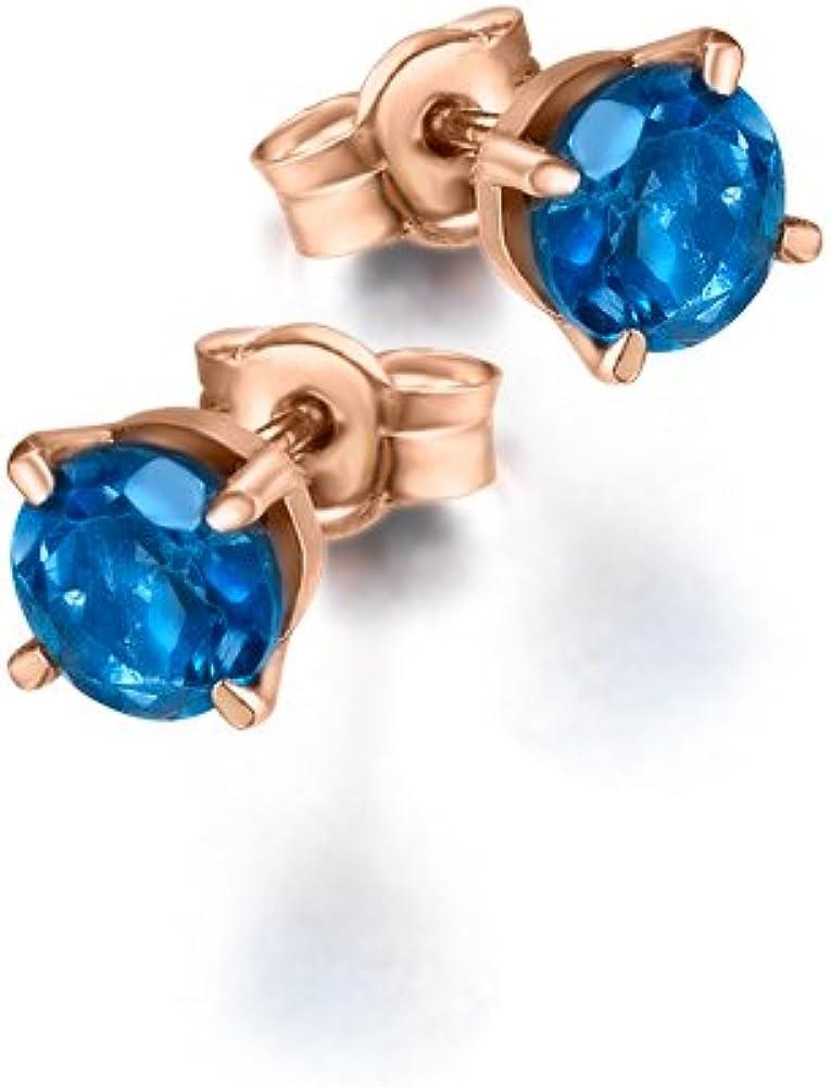 Pendientes con Topacio London Blue en Oro Rosa de LECARRÉ JOYAS