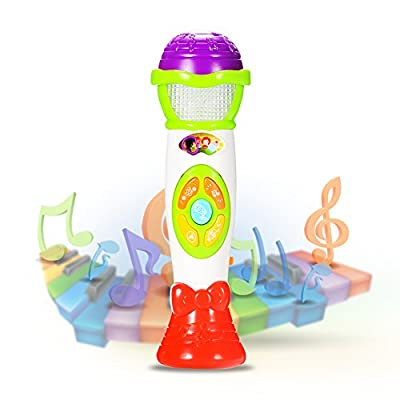 ThinkMax Kids Voice Changing and Recording Microphone with Colorful Light Musical Toys