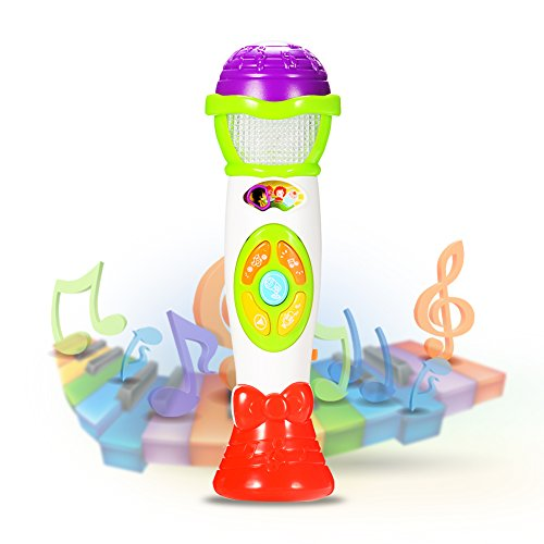 ThinkMax Kids Microphone Toy, Voice Changing and Recording Microphone with Colorful Light Musical Toys (Green) ()