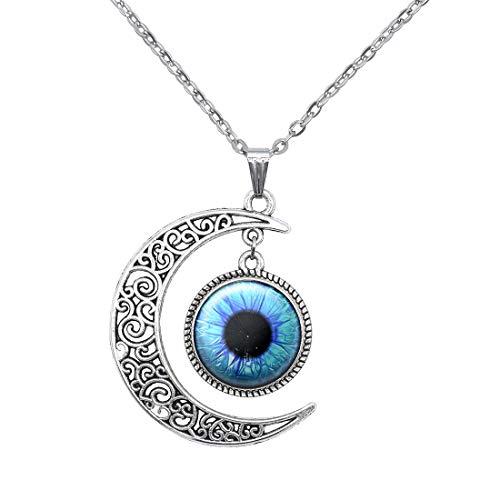 (New world idea Moon Blue Eye Pendant Evil Monster Eyeball Necklace Evil Eyes Choker Gifts for Men)