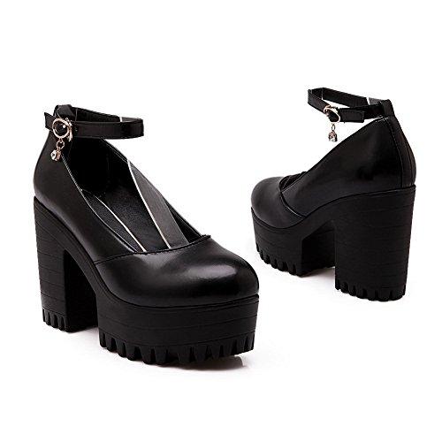 BalaMasa Ladies Round-Toe Buckle Platform Height High-Heels Solid Plastic Pumps-Shoes Black bauVh