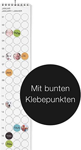 """dot on bday - Immerwährender Geburtstagskalender - 8 x 70 cm - Bekannt Aus """"Die Höhle Der Löwen"""" - mit bunten Klebepunkten - DIY-Planer"""