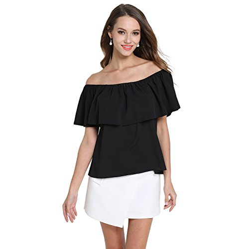 EOVVIO Women's Strapless Ruffles Off Shoulder Tops Loose Blouse