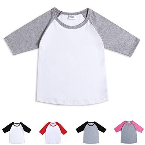 Cloudcreator 3/4 Sleeve Toddler Shirts Basaball Tee (3/4 Sleeve Birthday)