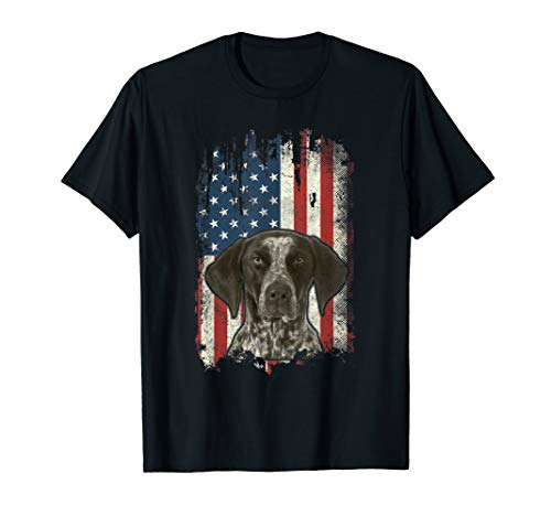 German Shorthaired Pointer American Flag Shirt USA GSP Dog T-Shirt