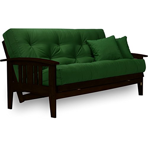 Westfield Complete Futon Set - Espresso Finish (Warm Black) – Large Queen Size, Mission Style Wood Futon Frame with Mattress Included (Twill Hunter Green), More Mattress Colors Available ()