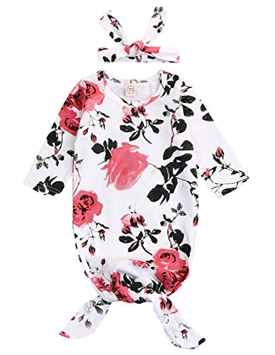 Newborn Baby Floral Sleeping Gown Swaddle Sack Coming Home Sleepwear Romper Sleeping Bags Outfit (White, 0-18 -