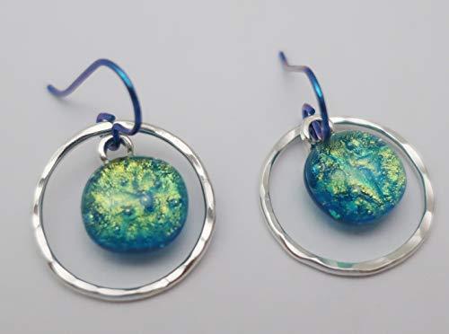 Silver Hoop Teal (Sterling Silver Hammered Hoops teal gold dichroic glass Niobium earrings Mixed Metals)