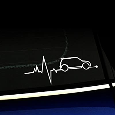Mini Cooper Heartbeat JDM Decal Vinyl Sticker|Cars Trucks Vans Walls Laptop| White |7.5 x 3 in|CCI641: Automotive