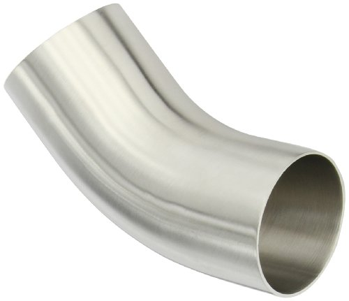 Stainless Steel Weld Elbows - Dixon B2KS-G250P Stainless Steel 304 Sanitary Fitting, 45 Degree Polished Weld Long Elbow with Tangent, 2-1/2
