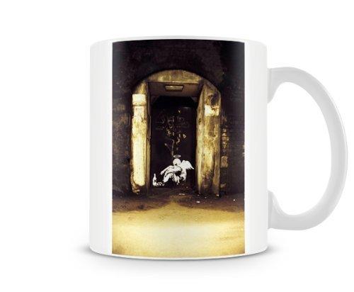 Printed mug featuring Banksy's, 'Fallen Angel