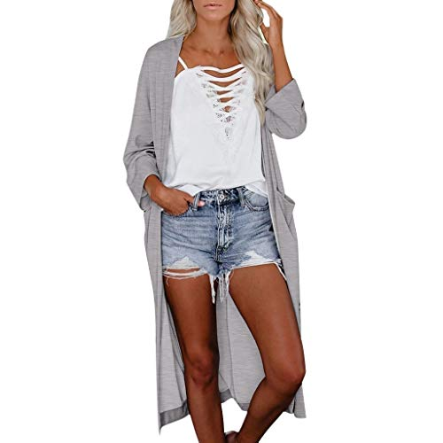 Emimarol Women's Button Down Long Sleeve Pocketed Cardigan Sweater Solid Long Knitwear Loose Outwear Gray
