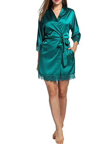 Kimono Nuit Vtement Ceinture BeautyUU de Satin Nuit de en Mer Vert Chambre de Robe Robe de Pyjama Femme WXWSAqR8