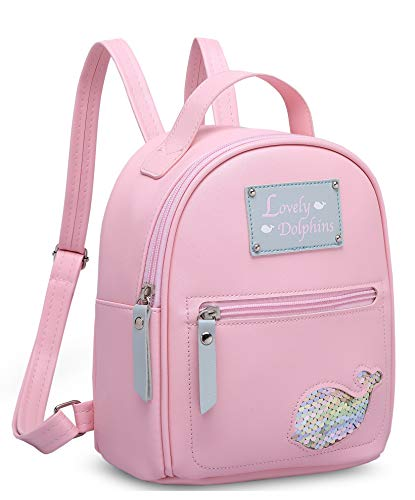 MOCA Cute Dolphin Mini Backpack Back Bag for Womens Girls Little Small Girls Kid Mini Back Bag Backpacks bagpack Trendy Stylish for Womens Girls (Pink)