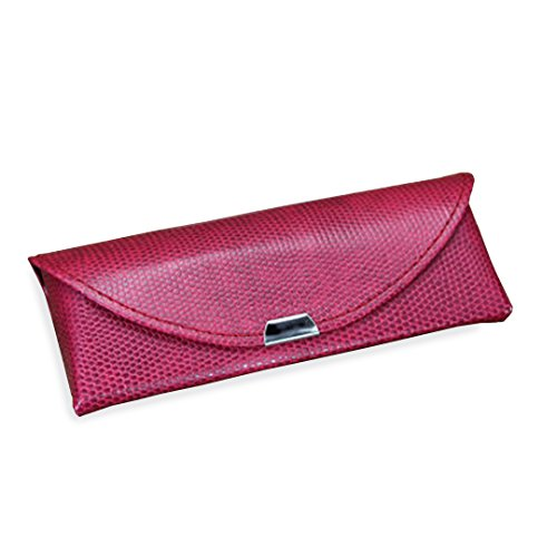 Yulan Snake Lizard Style Soft Faux Leather Eyeglasses Case for Glasses and Sunglasses(Rose)