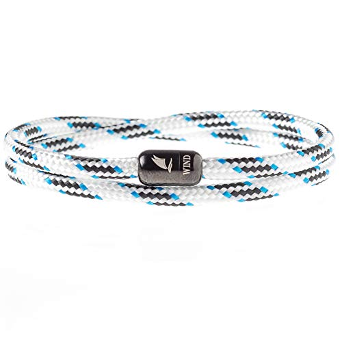 - Wind Passion Durable Rope Cord Cuff White Bracelet with Magnetic Clasp for Men Women, X-Large Size